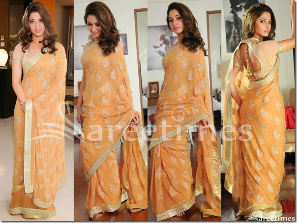 Tamanna_Orange_Embellished_Saree