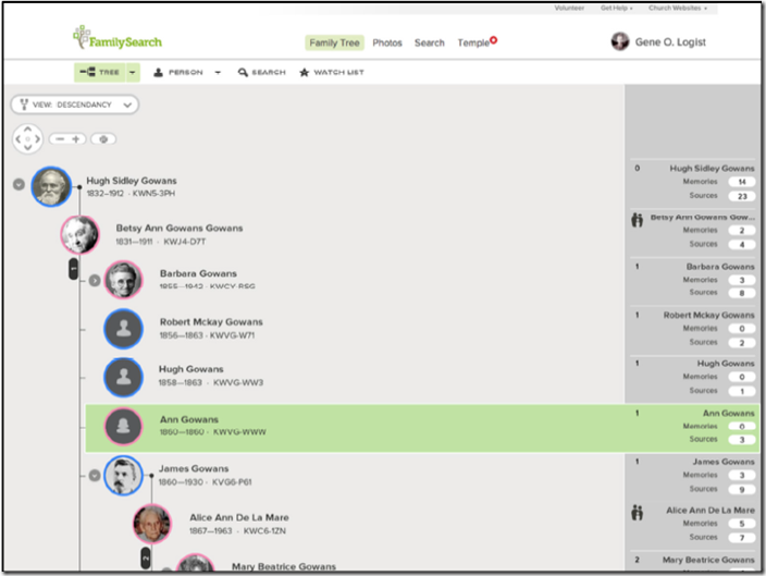 A descendancy view is planned for FamilySearch Family Tree
