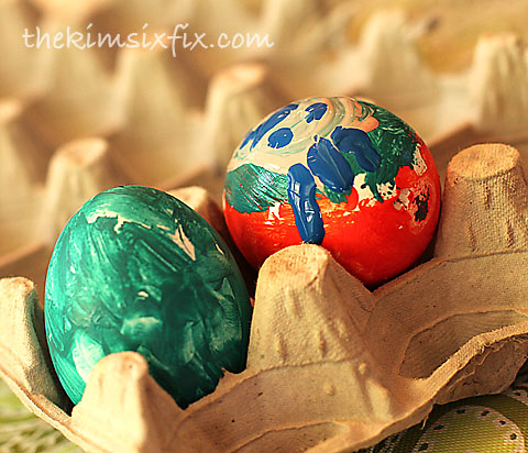 Children painted eggs