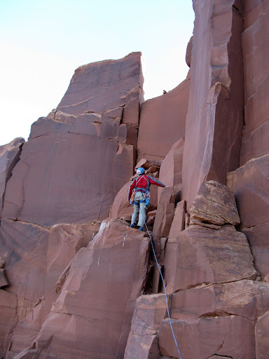 Dominic starts up the lower portion of pitch 1.