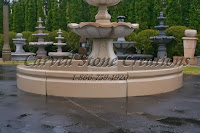 8' Round Cypress Fountain Pool Surround, Golden Cypress Granite