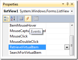 Creating 'RetrieveVirtualItem' event handler for listView1 list view