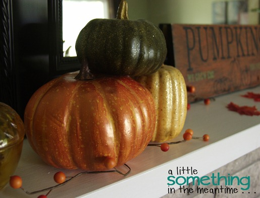Fall 2012 Mantel - Left Side Pumpkins 1