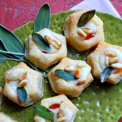 Apricot Brie Bites with Crispy Sage