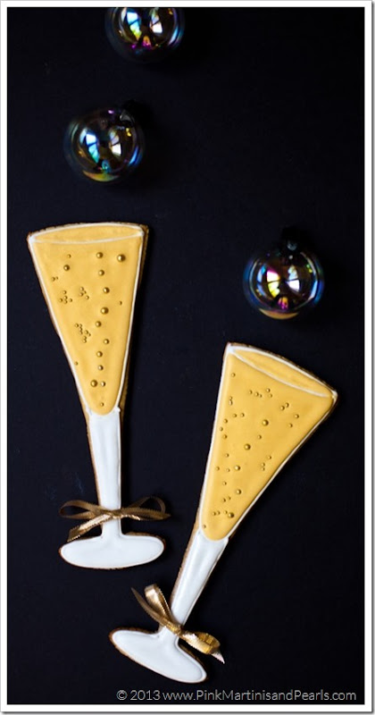 champagne glass cookies party favors