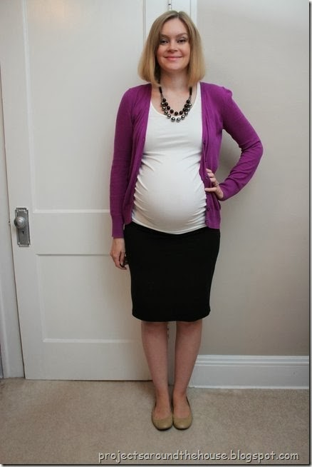 Purple cardigan, white tank, black skirt