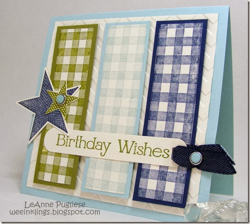 LeAnne Pugliese WeeInklings Birthday Wishes Card Gingham Wheel Stampin Up