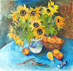 Sunflowers With Basket of Peaches