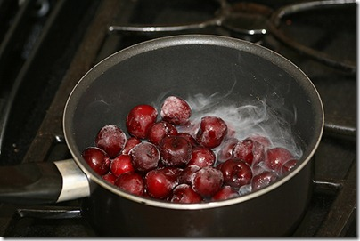 4 cooking down the frozen cherries