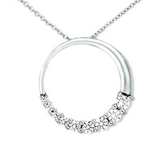 Round Diamond Circle Journey Pendant