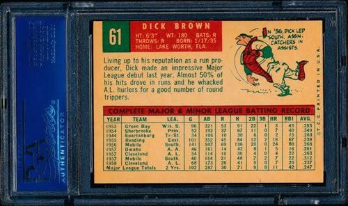1959 Topps 61 Dick Brown variation back