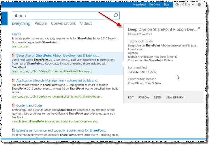 Chris O\'Brien: Extending the SP2013/Office 365 search hover panel ...