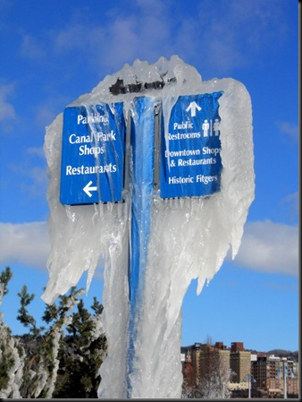 iced canal park lampposts