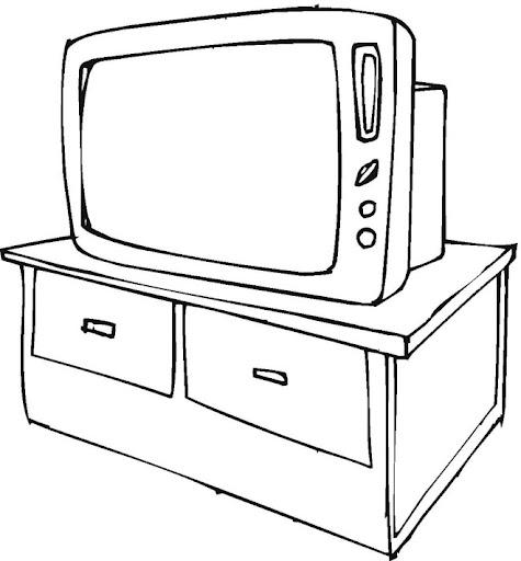 Niña viendo television para colorear - Imagui