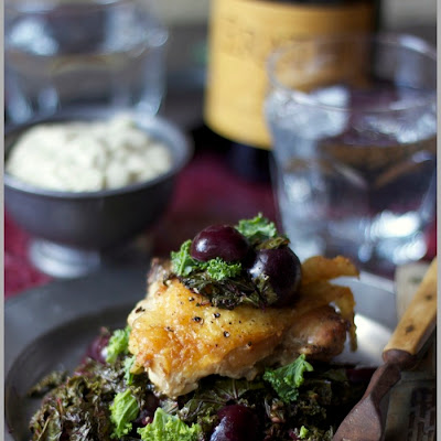 Roast Chicken with Summer Cherries and Kale Chiffonde