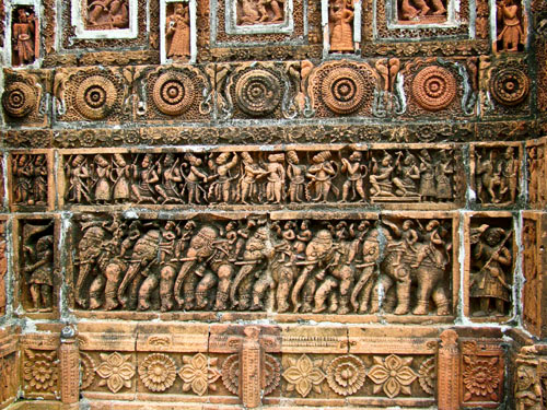 Terracotta design at Kantaji Temple wall