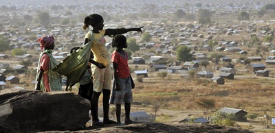 A group of girls looks across Juba, Sudan, from atop a hill overlooking the city. Voting begins Sunday for the referendum of self-determination of Southern Sudan.