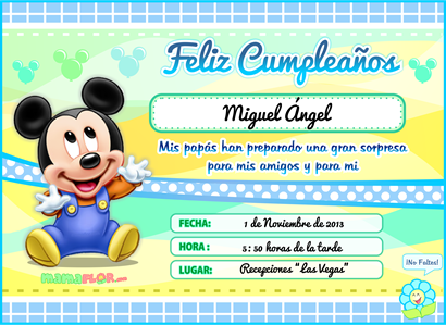 Tarjeta de Cumpleaños de Mickey Mouse Bebé, listo para Imprimir ...