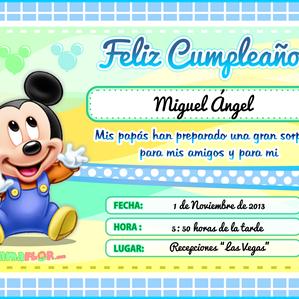 Tarjeta de Cumpleaños de Mickey Mouse Bebé, listo para Imprimir