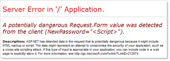 Request validation firing on the password field