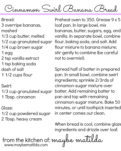 Cinnamon Swirl Bread Recipe Card