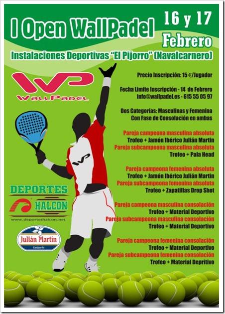 """I Open WallPadel en Navalcarnero Pistas """"El Pijorro"""", 16 y 17 febrero de 2013."""