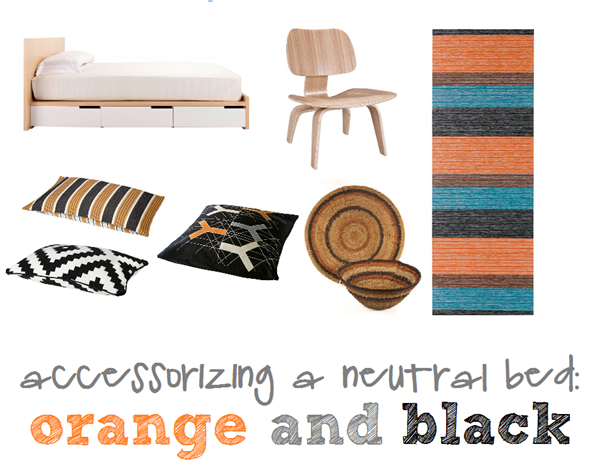 accessorizing a neutral bed with orange and black