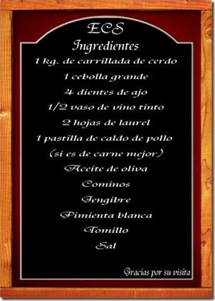 Pizarra ingredientes ECS