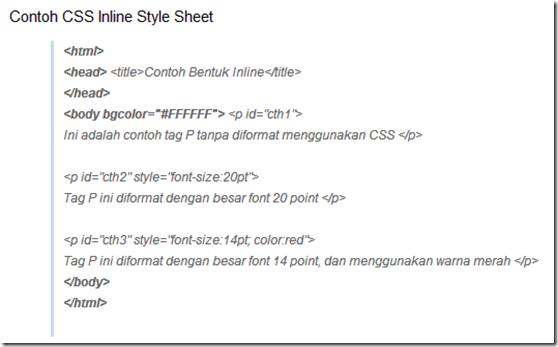 CSS Metode Inline Style Sheet