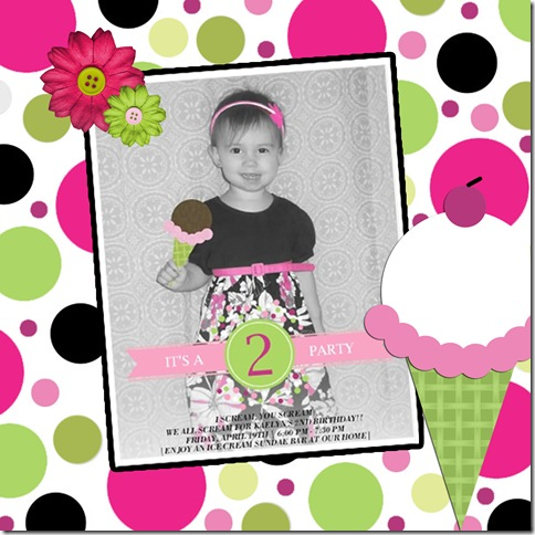 Ice Cream Birthday Invite Scrapbook Page copy