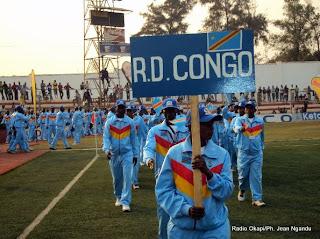 Des athlètes congolais lors de la cérémonie d'ouverture de la 7ème édition des jeux de la SARPCCO, le 15/08/2011 à Lubumbashi.  Radio Okapi/Ph. Jean Ngandu