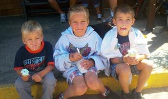 three boys with ice cream