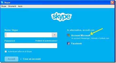 Skype accedere con Account Microsoft
