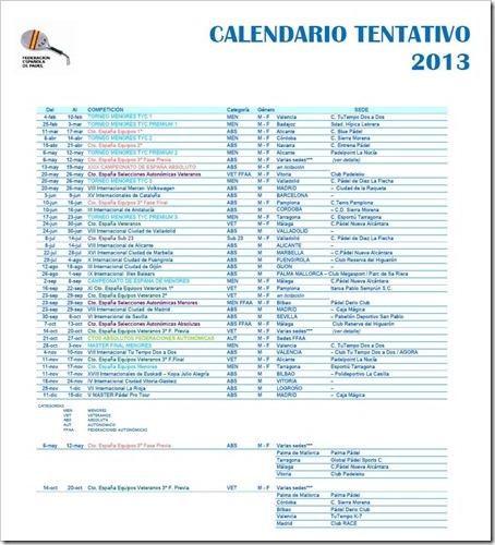 Calendario Federacion Española de Pádel FEP 2013