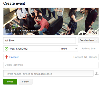 google create event
