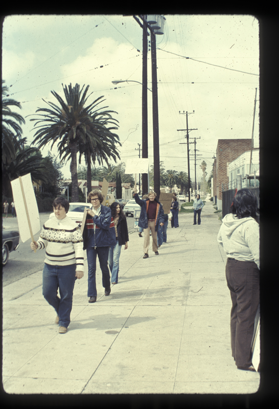 Mort Sahl Show protesters at the KCOP studio. March 21, 1975