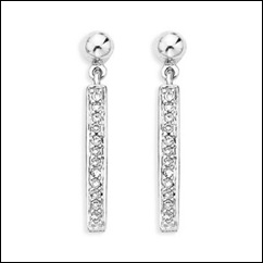 Round Diamond Dangling Earrings in 10k White Gold