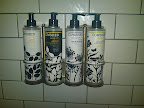 Bad photo of good stuff. The shower room smells delicious from all the products on hand.