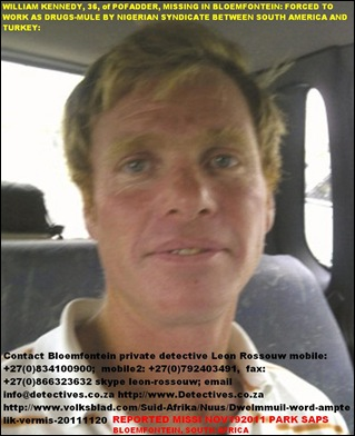 KENNEDY WILLEM of Pofadder  missing Interpol drug mule for international syndicate nov202011