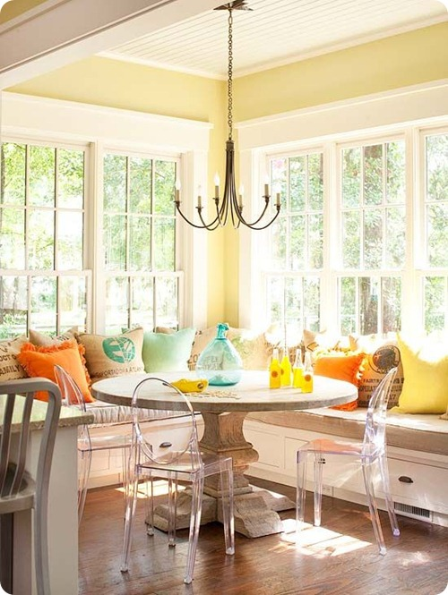 kitchen banquet in yellow orange