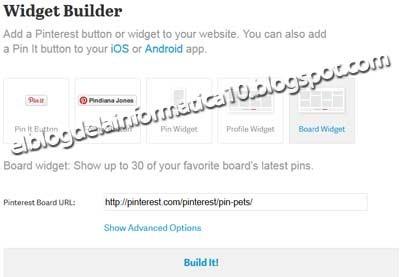 Gadget Pinterest para blog