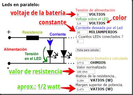 calculador de ohmios y watts
