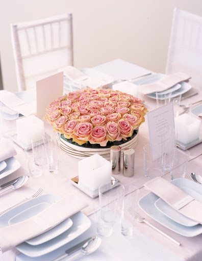 Pink Roses Arrangement. (marthastewartweddings.com)