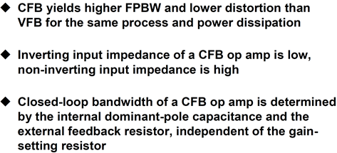 Summary: CFB op amps