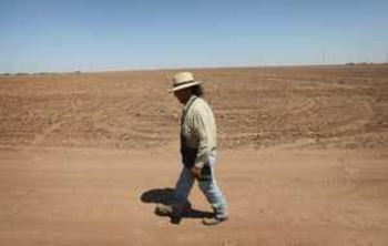 Juan Rico walks by a barren cotton field 27 July 2011 near Hermleigh, Texas. A severe drought has caused the majority of dry-land (non-irrigated fields) cotton crops to fail in the region. Photo: Scott Olson / Getty Image