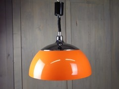 Orange hanging lamp with plastic shade