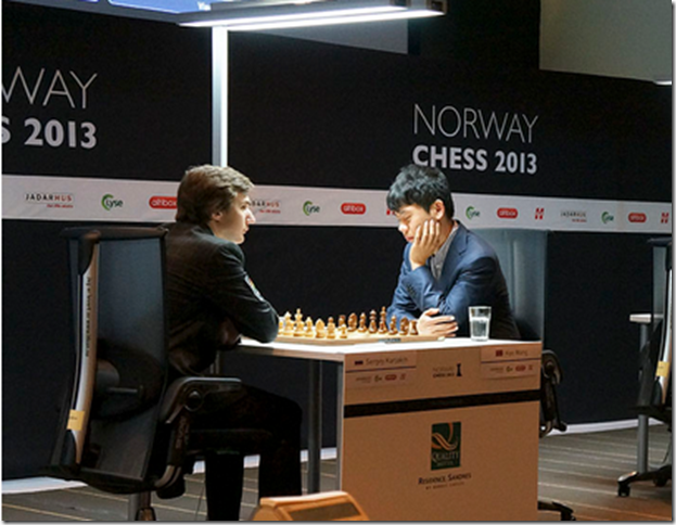 Sergey Karjakin vs Wang Hao, 3rd round, Norway Chess 2013