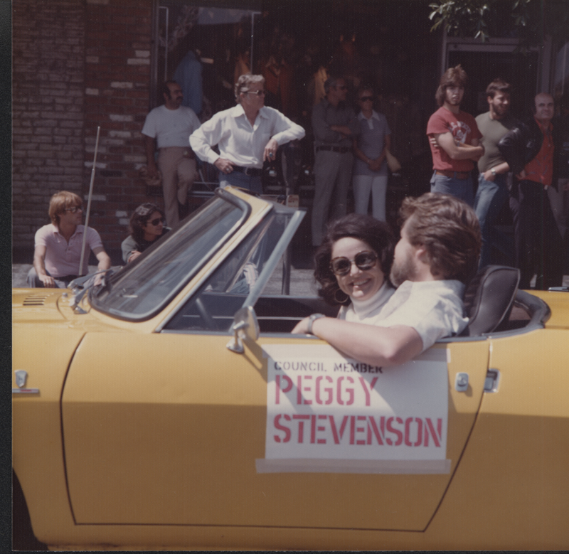 Councilwoman Peggy Stevenson being driven in the Los Angeles Christopher Street West (CSW)  pride parade. June 29, 1975.