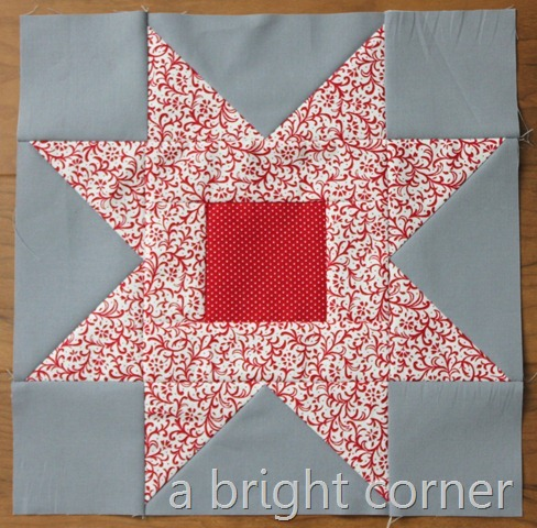 red sawtooth star block