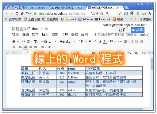 Google 的雲端硬碟可以直接編輯 Office 檔案